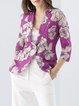 Purple Work Lapel Cotton-blend Floral Blazer