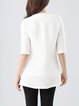 White Half Sleeve Silk Ribbed Plain Blouse