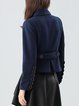 Navy Blue Shirt Collar Casual Plain Buttoned Cropped Jacket