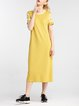 Yellow Casual Letter Crew Neck Midi Dress