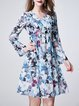 Multicolor Silk V Neck A-line Long Sleeve Midi Dress