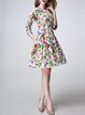 Multicolor Silk Floral-print Vintage Midi Dress