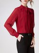 Wine Red Mesh Elegant Silk Blouse