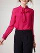Fuchsia Mesh Stand Collar Elegant Blouse
