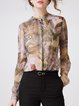 Plus Size Multicolor Graphic Printed Silk Long Sleeve Blouse