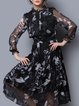 Black Long Sleeve Silk A-line Floral Midi Dress