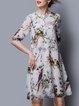 Multicolor Animal Print Casual A-line Silk Midi Dress