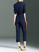 Dark Blue Half Sleeve Lapel Solid Jumpsuit