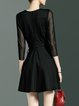 Black Crew Neck A-line Simple Plain Mini Dress
