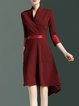 Burgundy Elegant Paneled High Low Midi Dress