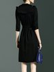 Black Plain Polyester Half Sleeve A-line Midi Dress