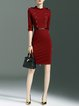 Burgundy Half Sleeve Buttoned Midi Dress with Belt