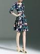 Multicolor Floral Vintage A-line Polyester Mini Dress