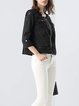 Black Cotton Casual Floral Embroidered Crew Neck Cropped Jacket