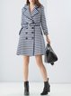 Blue Printed Stripes Linen Long Sleeve Coat