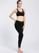 Black Stretchy Wearable Polyester Cross Sports Bra (Sportswear for Yoga)