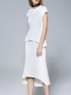 White Ruffled Short Sleeve Two Piece Crew Neck Midi Dress