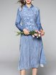 Blue Embroidered Elegant Stand Collar Silk Midi Dress