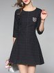 Black Polka Dots 3/4 Sleeve Mini Dress