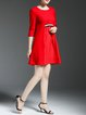 Red Crew Neck Casual A-line Mini Dress