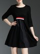 Black Crew Neck Casual A-line Mini Dress