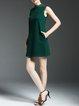 Dark Green Knitted H-line Plain Casual Mini Dress