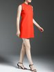 Orange Stand Collar Pierced Casual Knitted Mini Dress