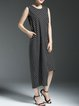 Cotton-blend Casual Printed Sleeveless Midi Dress