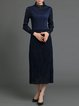 A-line Elegant Polyester Pleated Long Sleeve Midi Dress