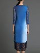 Elegant 3/4 Sleeve Ombre/Tie-Dye Lace Scoop Neckline Midi Dress