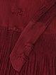 Vintage 3/4 Sleeve Pleated Stand Collar Midi Dress