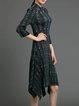 Vintage 3/4 Sleeve Pleated Printed Floral Midi Dress