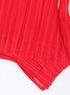 Red Elegant Plain Ruffled Blouse