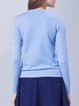 Aqua Blue Cotton-blend Casual Embroidered Sweater