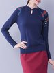 Casual H-line Floral Long Sleeve Embroidered Sweater