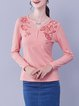 Long Sleeve Floral V Neck Embroidered Casual T-Shirt