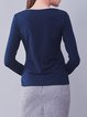 Navy Blue Long Sleeve Crew Neck Cotton Embroidered T-Shirt