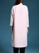 Pink Color Block Paneled Pockets Shift 3/4 Sleeve Coat