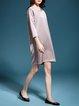 Plain Pockets 3/4 Sleeve Crew Neck Midi Dress