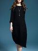 Black 3/4 Sleeve Asymmetric Midi Dress With Necklace