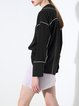 Black PajamaLook Lapel Long Sleeve Color-block Blouse