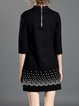 Black Cotton-blend Simple Stand Collar Mini Dress