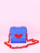 Blue Fold-over Flat Top Acrylic Statement Crossbody