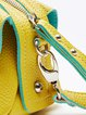 Yellow Zipper Casual PU Satchel