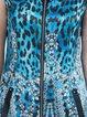 Crew Neck Vintage Short Sleeve A-line Silk Printed Mini Dress