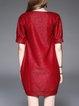 Red Shift Crew Neck Casual Mini Dress