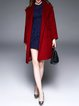 Red Pockets Plain Long Sleeve Wool Blend Coat with Belt