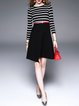 Black Cotton-blend Crew Neck Stripes Printed A-line Casual Midi Dress with Belt
