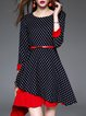 Black Checkered/Plaid Cotton-blend 3/4 Sleeve Printed Mini Dress with Belts