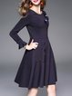 Navy Blue Crew Neck Girly A-line Appliqued Midi Dress